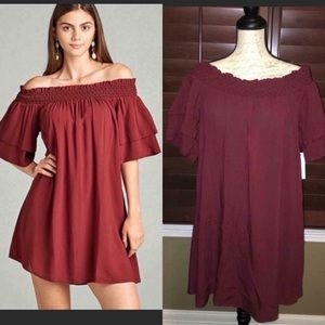 Active USA Burgundy Off Shoulder Dress